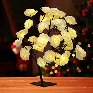 24LED Pink Rose Tree Light USB Battery Box Dual Power Supply Mode 2021 US in Stock, for Girls, for Home/Christmas/Party/Festival/Wedding (B)