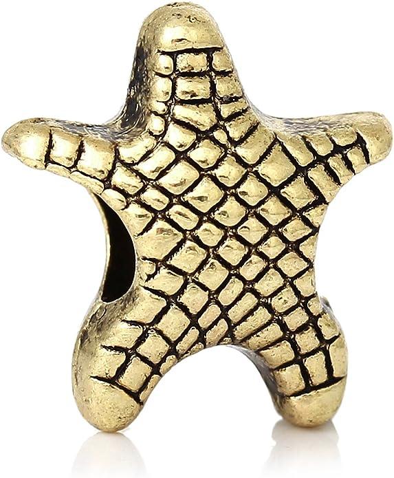Starfish Beach Sea Life Gold Tone Spacer Charm for European Bead Slide Bracelets Fashion Jewelry for Women Man