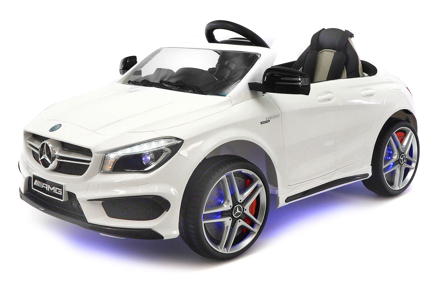 2018 12V Mercedes CLA45 Electric Powered Battery Operated LED Wheels Kids Ride on Toy Car with Parental Remote Control (White)