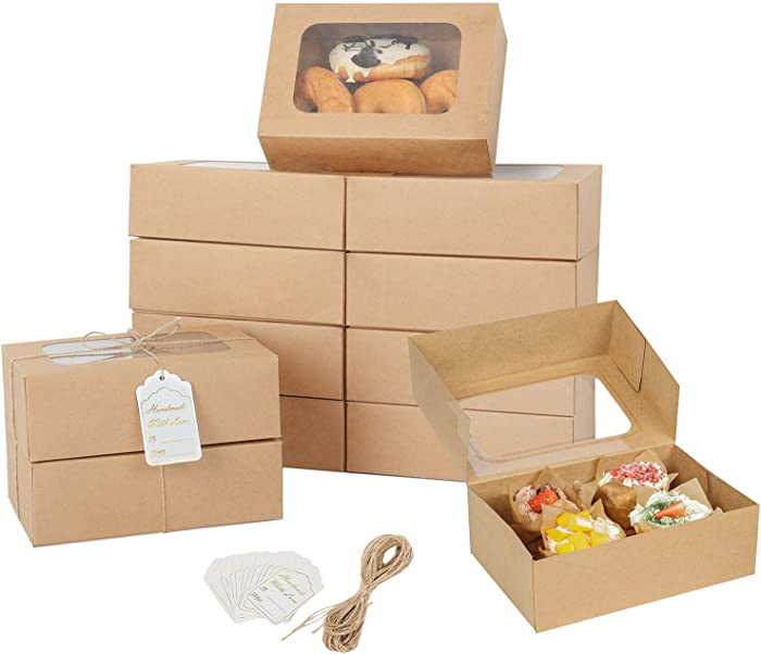 24 Pcs Cookie Boxes with Window for Paper Gift Giving Brown Bakery Cupcake Boxes 9