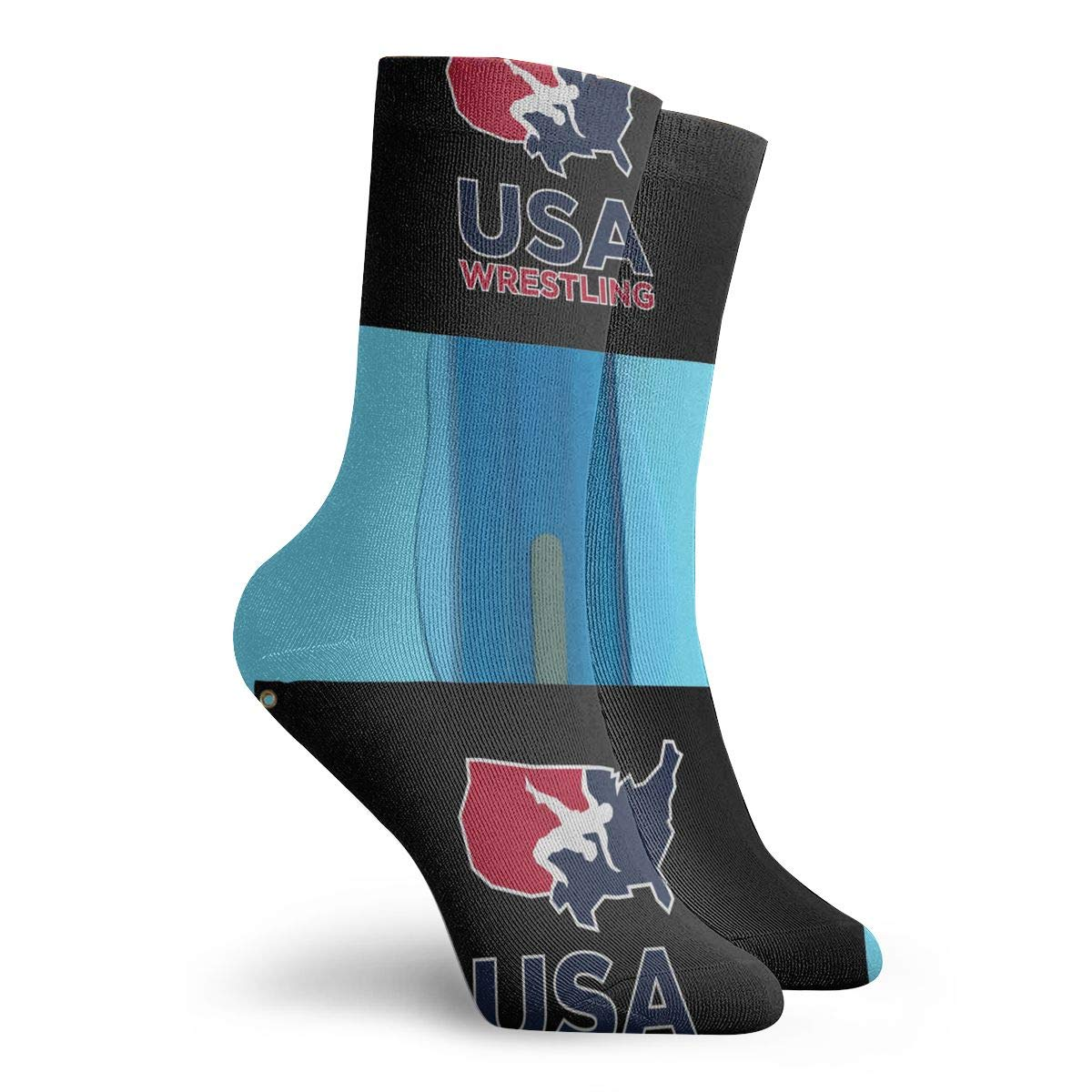 USA Flag Wrestling Fashion Dress Socks Short Socks Leisure Travel 11.8 Inch