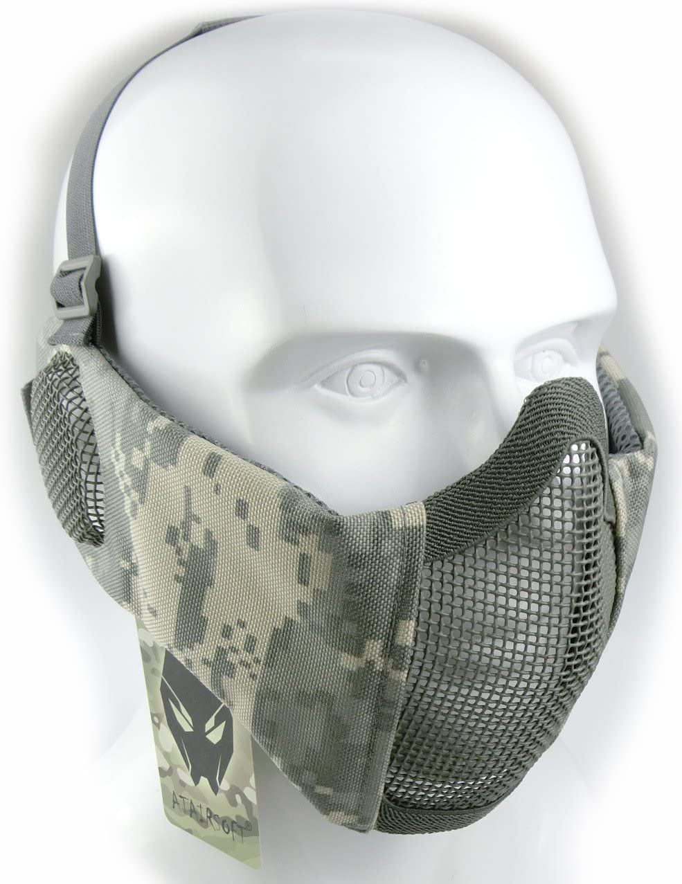Mascarilla protectora de malla inferior de nailon con cubierta para la oreja de Worldshopping4U, Tactical Airsoft CS, delete