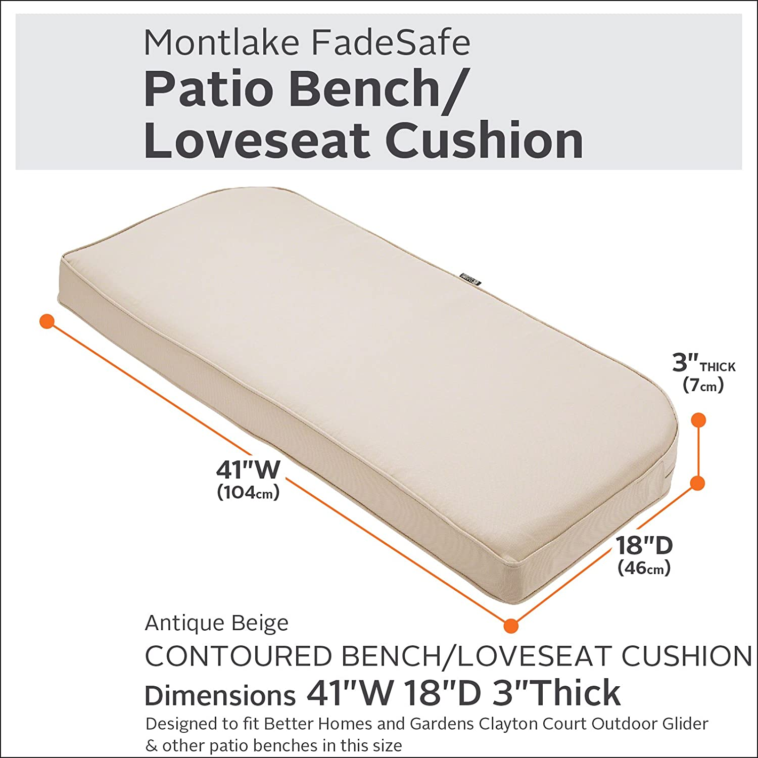 Amazon.com : Classic Accessories Montlake Bench Cont. Cushion Foam ...