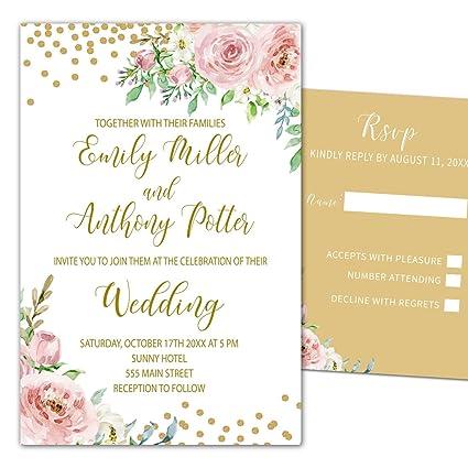 Amazoncom 100 Wedding Invitations Blush Pink Gold Floral Design
