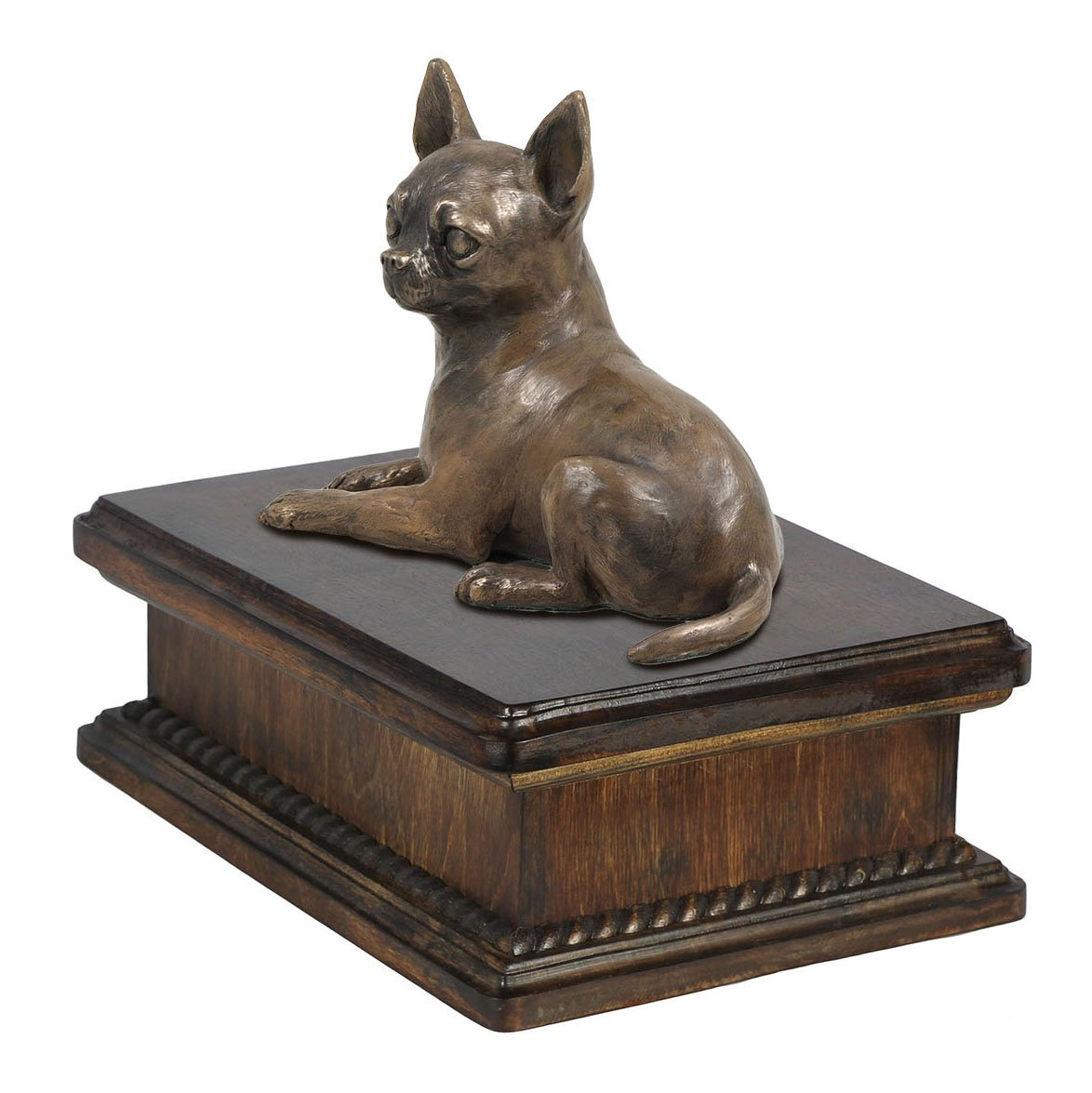 Chihuahua (no desk), memorial, urn for dog's ashes, with dog statue, exclusive, ArtDog