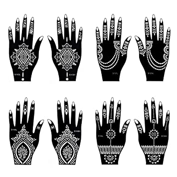 Amazon Com Henna Tattoo Stencil Temporary Tattoo Temples Set Of
