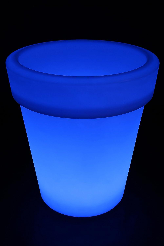 point-garden Blumenkübel LED Farbwechsel 68cm Pflanzkübel beleuchtet Lampe Akku FB