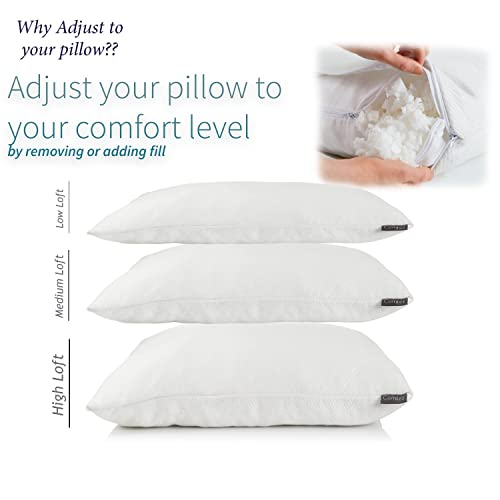 Comfez Premium Shredded Memory Foam Adjustable Bamboo Pillow - Breathable and Machine Washable Cover - CertiPUR Certified Hypoallergenic Dust mite resistant - 20 x 28 - Queen Size