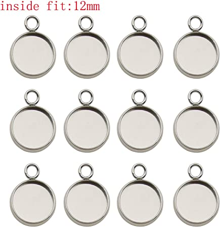 12mm Round Pendant Blanks Cabochon Trays Pendant Bases DIY Accessory 50pcs
