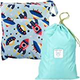MyKazoe Waterproof Wet Bag with Two Zippered Pockets and Multipurpose Bag with Drawstring Kit - Swimsuits, Diapers, Cosmetics & More (Set of Two)