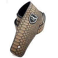 Correa ajustable de guitarra - correa de cuero de textura de piel de serpiente para bajo eléctrico de guitarra acústica (marrón)