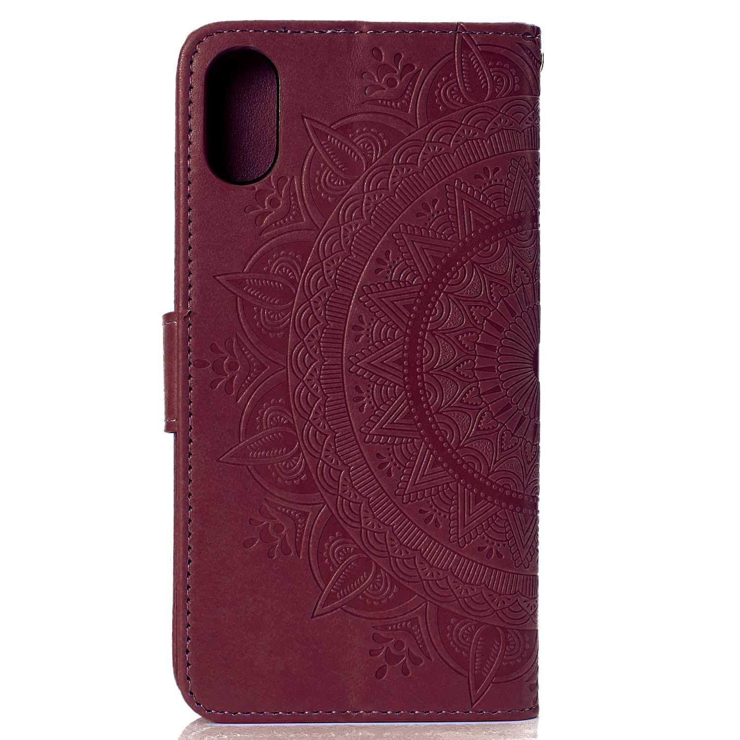 Case iPhone XR, Bear Village PU Leather Embossed Design Case with Card Holder and ID Slot, Wallet Flip Stand Cover for Apple iPhone XR (#7 Brown) by Bear Village (Image #2)