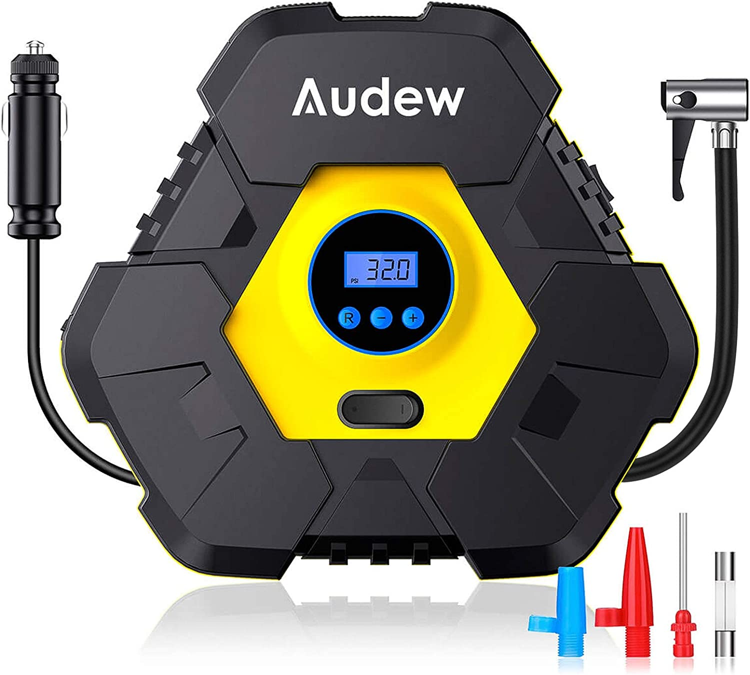 Motors and Air Beds Up to 38L//Min Air Flow for Car Audew Tyre Inflator Digital Tyre Pump 12V 150PSI Air Compressor Protable with LCD Display