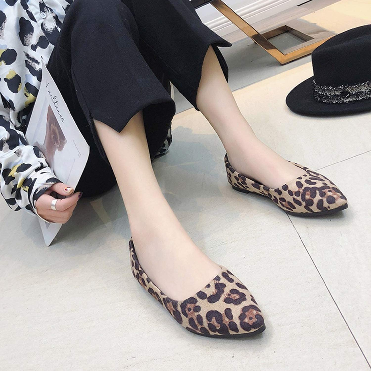 baixa Fashion Women Pointed Toe Single Shoes Casual Leopard Shallow Shoes Ladies Slip-On Flat with Shoes Ja17,KH,5,China