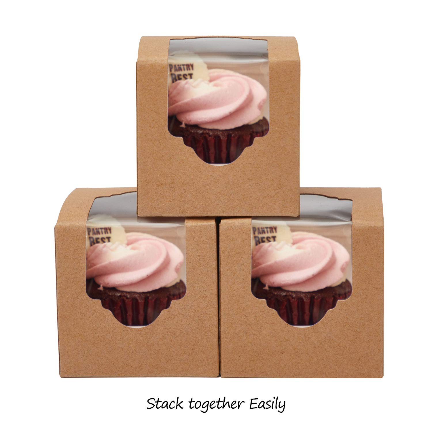 Yotruth Rustic Brown Mini Cupcake boxes Individual Easy Pop Up for Wedding Favors with Insert 50 Pack