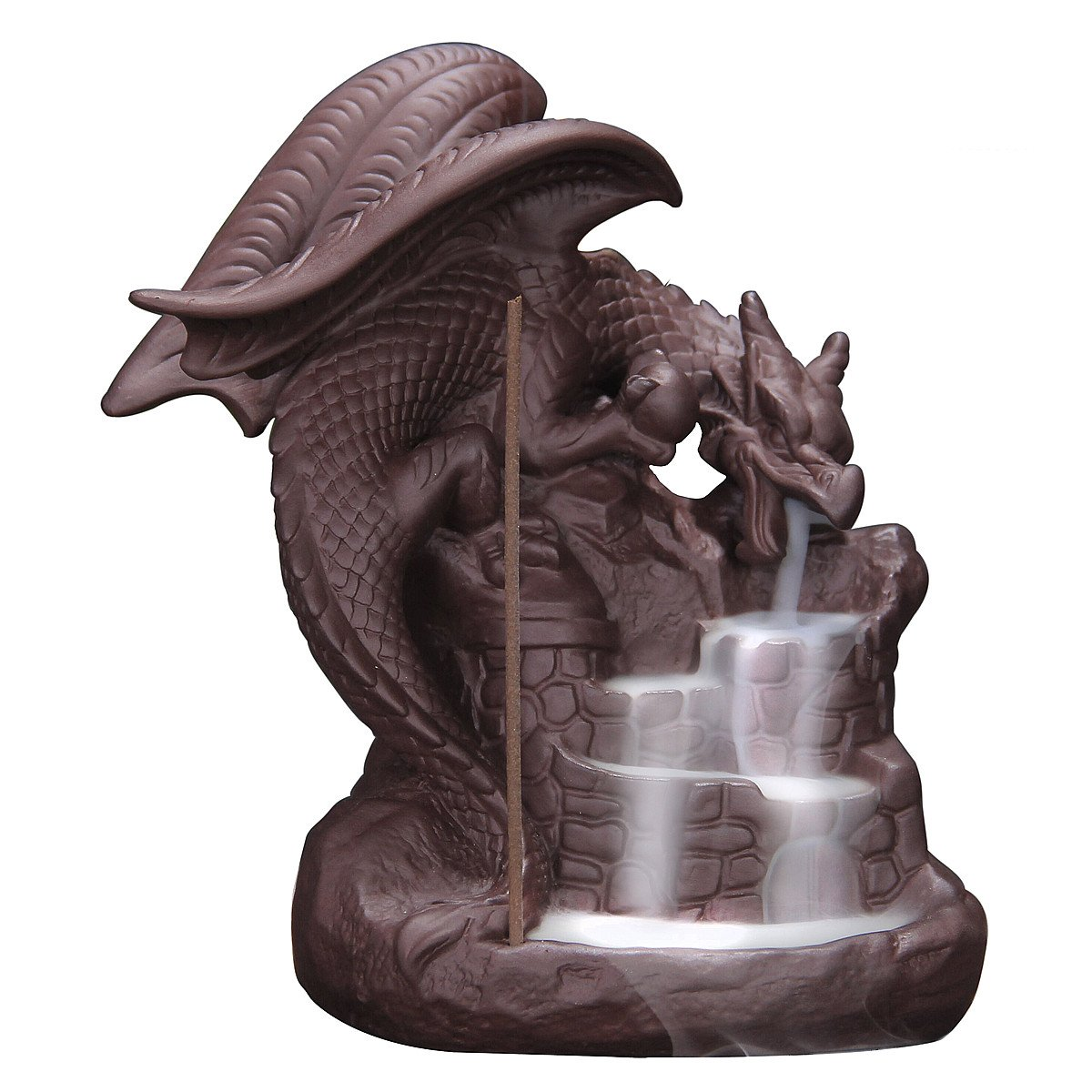OTOFY Handmade Ceramic Incense Holder, Backflow Incense Burner Figurine Incense Cone Holders Home Decor Gift Decorations Statue Ornaments (Fly Dragon) by OTOFY (Image #1)