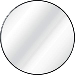 """HBCY Creations Circle Wall Mirror Inch Round Wall Mirror for Entryways, Washrooms, Living Rooms and More (Black, 30"""")"""