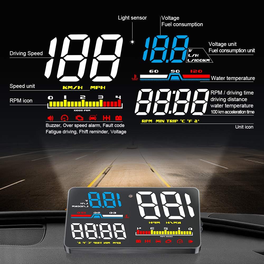 YAMUDA Head-Up Display Auto HUD 12,7 cm Windschutzscheibe Projektor mit OBD II//EU OBD Interface Stecker