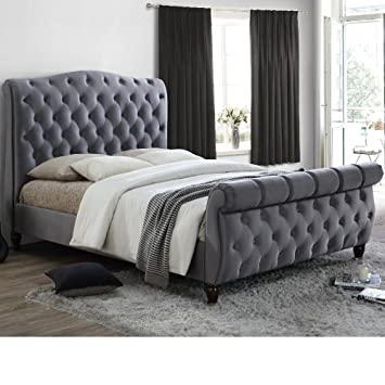 sale retailer 1a831 ca74c Grey Velvet Fabric Sleigh Bed, Happy Beds Colorado Grey Fabric Modern Bed -  6ft Super King (180 x 200 cm) Frame Only