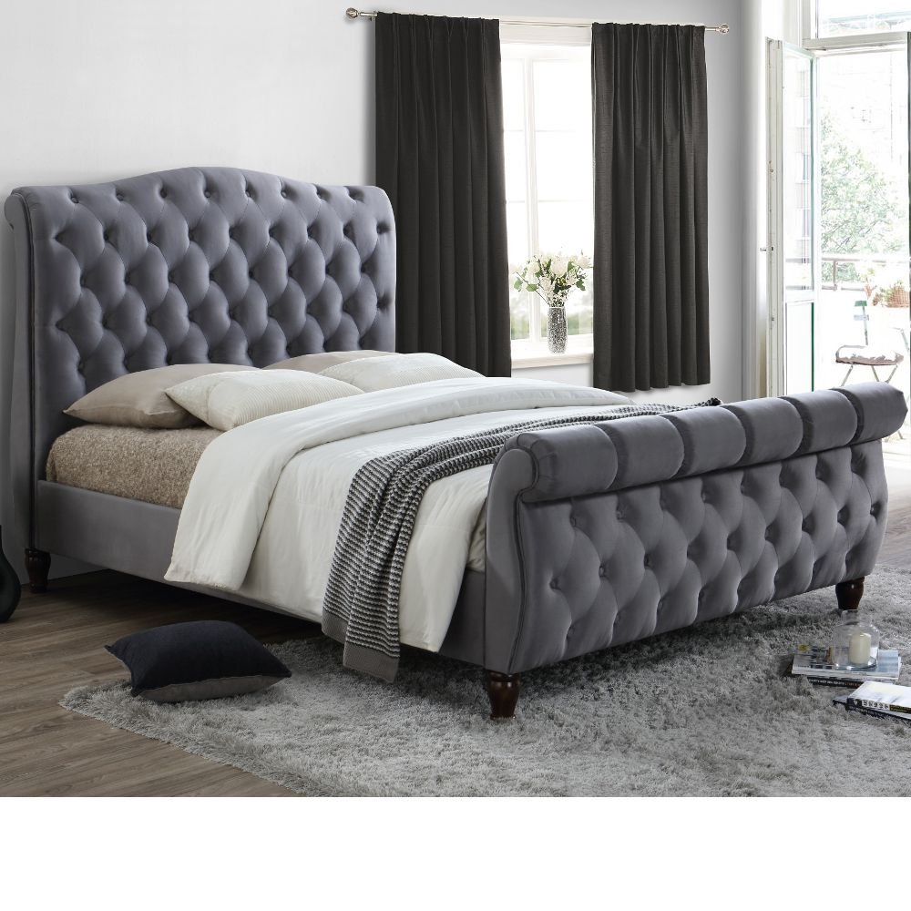 Grey Velvet Fabric Sleigh Bed Happy Beds Colorado Grey Fabric Modern Bed Frame 5ft Uk King 150 X 200 Cm With Orthopaedic Mattress Included Buy Online In Cayman Islands At Cayman Desertcart Com