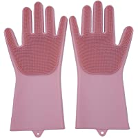 Set of 2 Pairs 100% Silicone Gloves with Wash Scrubber, Reusable Brush Heat Resistant Kitchen Tool for Cleaning, Dish…