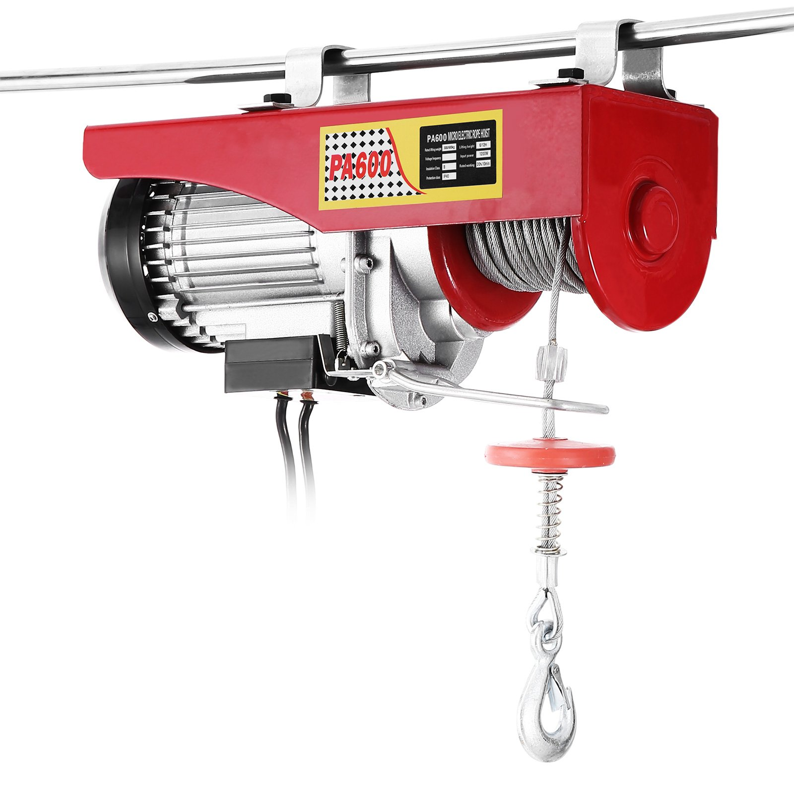 Popsport Electric Hoist 1320LBS Electric Hoist Crane 110V 1050W Lift Electric Hoist Crane Overhead Garage Winch with Hand Control Auto Lift (1320LBS)