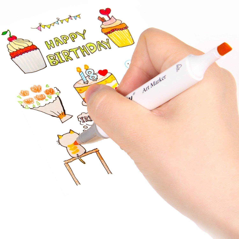 Rotulador 60 de dibujo con 60 Rotulador marcadores de dibujo de animación, marcadores de arte de doble punta, marcadores permanentes a base de alcohol, subrayadores de artistas de colores con funda de transporte. 60 colors-Anime(Blanco Pen) d1f486
