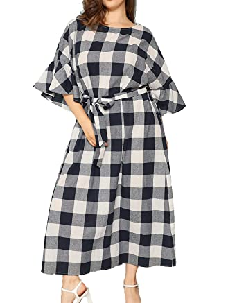 Floerns Women\'s Plus Size Plaid Dress Half Bell Sleeve Tie Waist Maxi Dress
