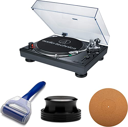 Audio-Technica AT-LP120-USB Professional Turntable with Knox Gear Anti Static Cork Mat, Record Weight Stabilizer and Record Cleaning Roller