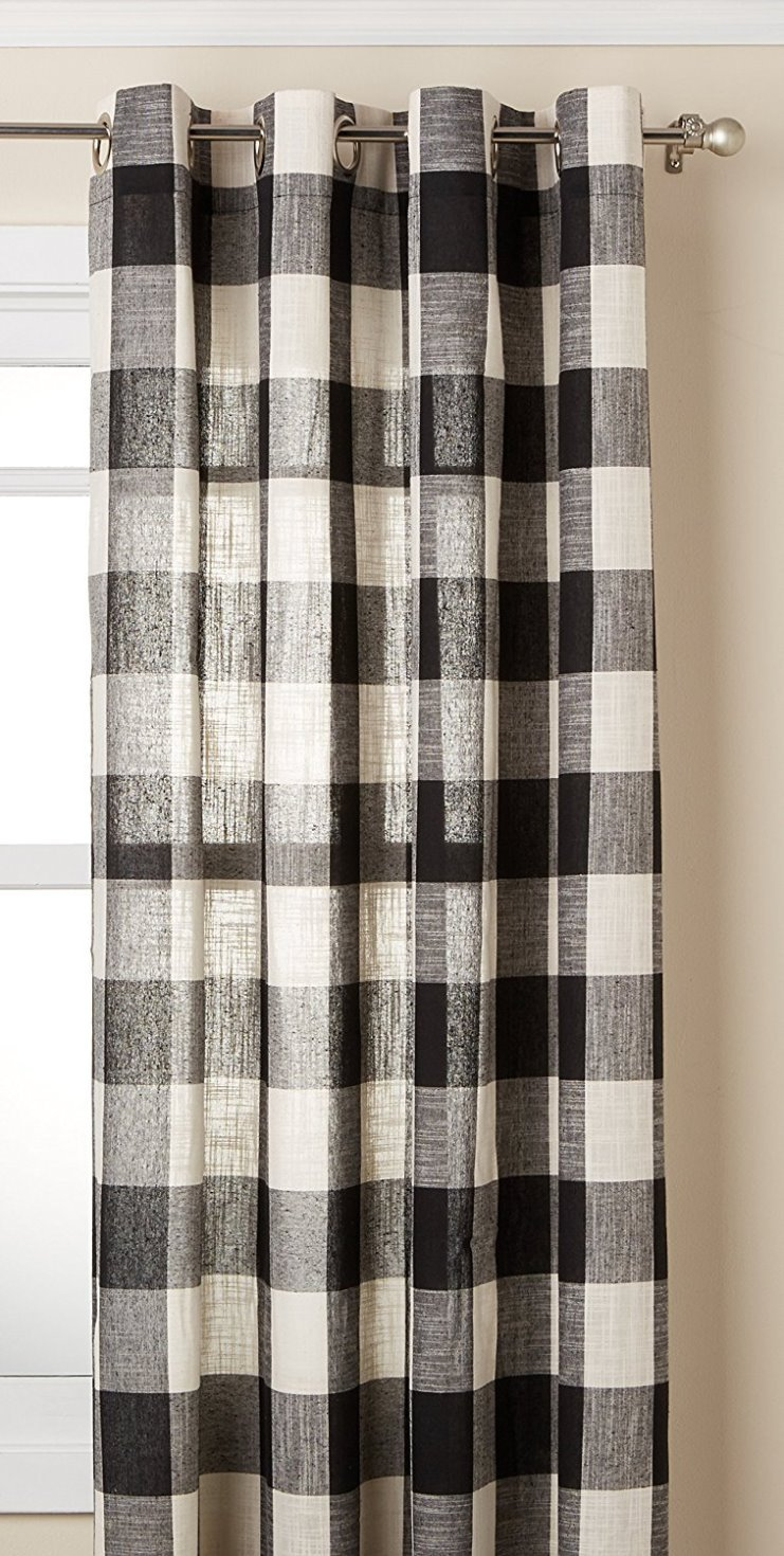 "Lorraine Home Fashions 09570-63-00146 BLACK Courtyard Grommet Window Curtain Panel, Black, 53"" X 63"""