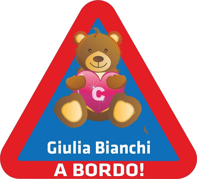 Placas de identificación - Bebé niño a bordo - con el nombre deseado - Adhesivo adhesivo - 062 - Teddy Bear Teddy - 15x14 cm para niños, autos, autos, ventanas traseras - Pegatinas personalizadas