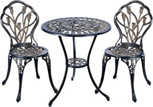 N/J ninahouse cast Aluminum Patio Bistro Set Antique Copper Outdoor Table Set Waterproof and Sun Resistant Tulip Design Set of 5.
