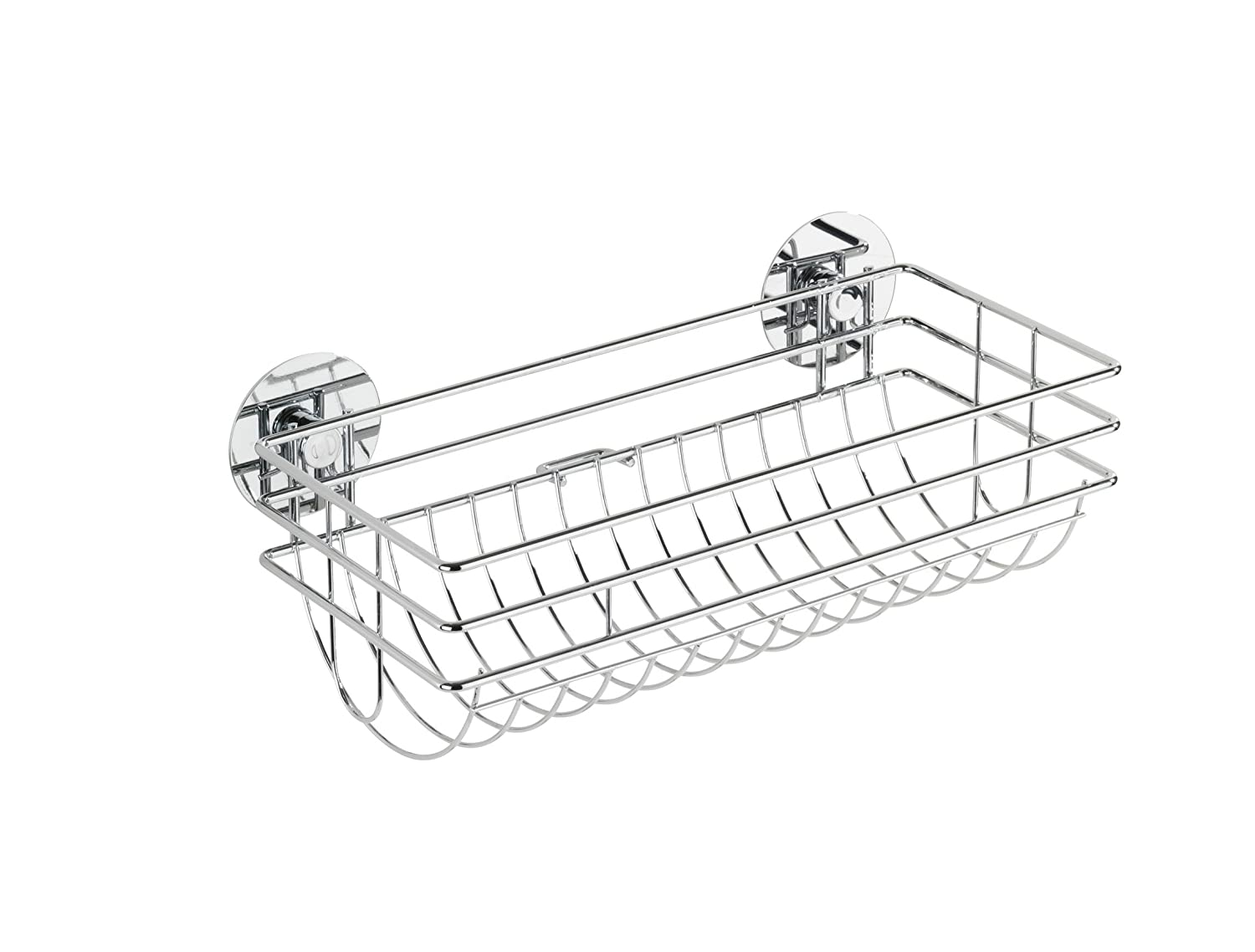WENKO 5637100 Turbo-Loc basket - fixing without drilling, Chrome plated metal, 24.2 x 8.2 x 14 cm, Silver shiny