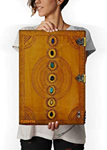 TUZECH Seven Chakra Medieval Stone Embossed Handmade Jumbo Leather Journal Book of Shadows Notebook Office Diary College Poetry Sketch (Yellow, 22 Inches)