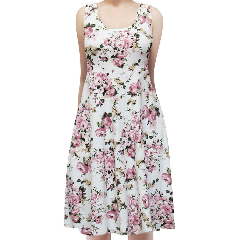 (White) Rusty Pink pink ShopMyTrend Women_s Sleeveless Flowy Midi Summer Beach A Line Tank Dress
