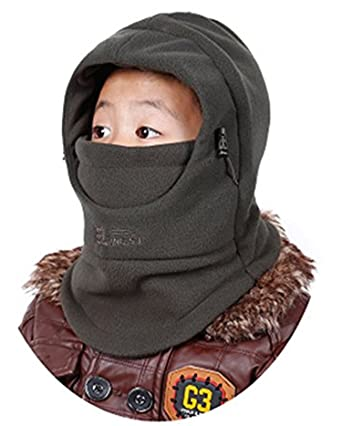 98f718b4883 ZZLAY Children s Balaclavas Hat Thick Thermal Windproof Ski Cycling Face  Mask Caps Hood Cover Adjustable Cap  Amazon.in  Clothing   Accessories