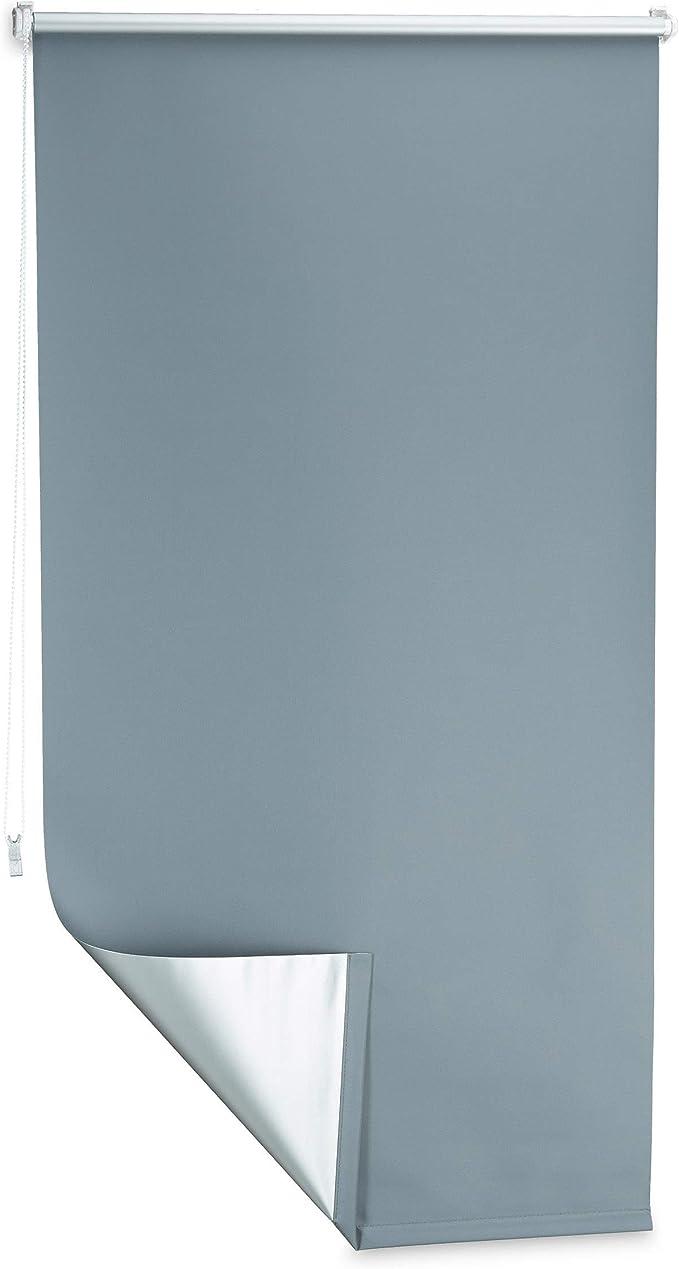 60 x 165 cm 1 Ud Sin Taladrar Tela-Aluminio Relaxdays Estor Opaco T/érmico Cadena Gris Enrollable