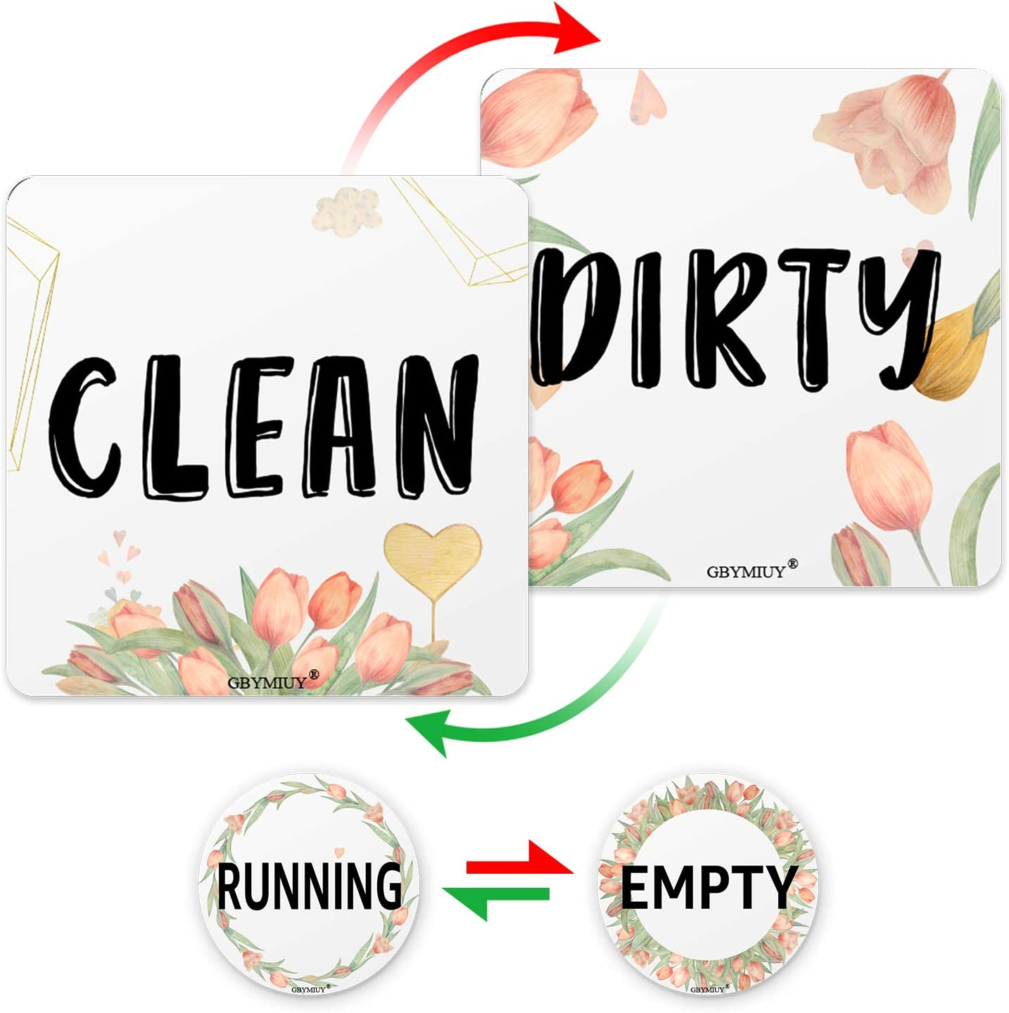 Clean Dirty Dishwasher Magnet with Round Empty Running Flip Sign, 3.5x3.5inches Cute Floral Double Sided Reversible Sign, Dishwasher Accessories, Kitchen Label for Home Organization