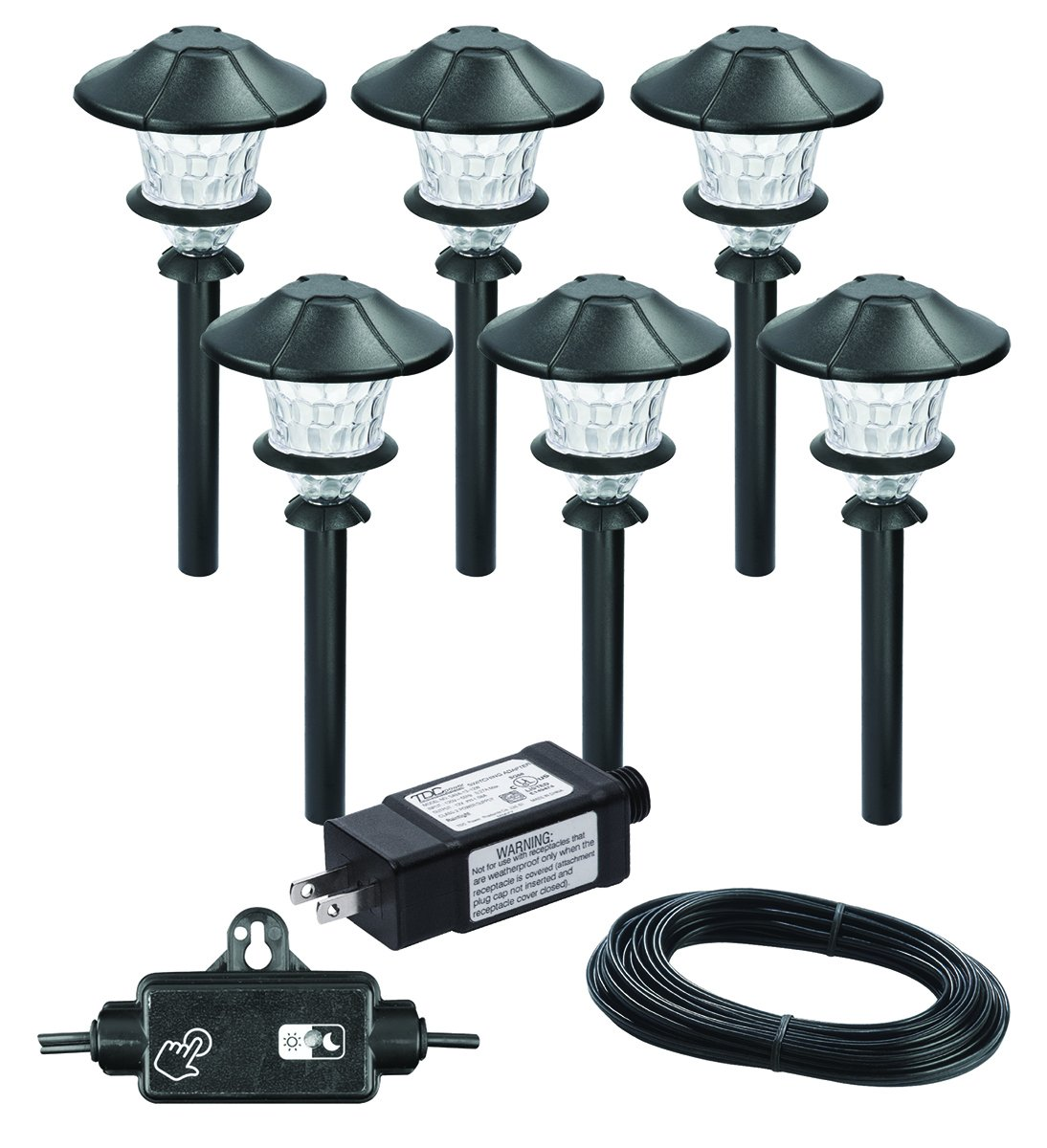 Paradise By Sterno Home Low Voltage Cast Aluminum 03w Led Path Light Kit 6 Pack Way Power Switch Route Fixture Fan Together Wiring Done Landscape Lights