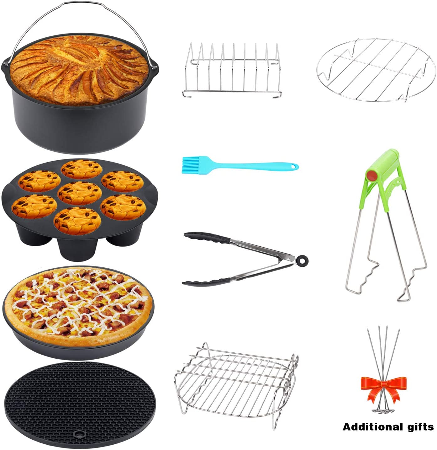 Golden XL Air Fryer Accessories 8 Inch Set of 10 Pcs for Gowise Phillips Cozyna Airfryer XL 3.8QT-5.8QT