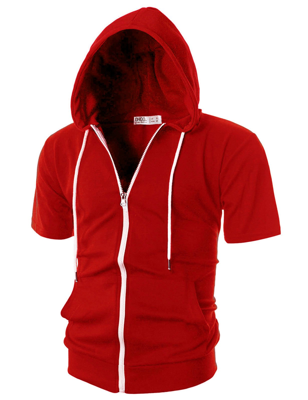 Ohoo Mens Slim Fit Short Sleeve Lightweight Zip-up Hoodie with Kanga Pocket/DCF007-RED-L