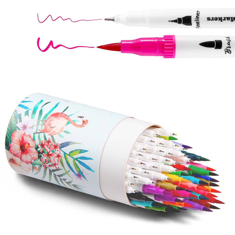 Pennarelli artistici a doppia punta, Pennello per colorare Penne Ohuhu a tratto definito, Penne a colori, 60 colori di pennarello a base d'acqua, Pennarelli evidenziatori per calligrafia, per Disegni, Schizzi, per colorare giornalini e progetti artistici