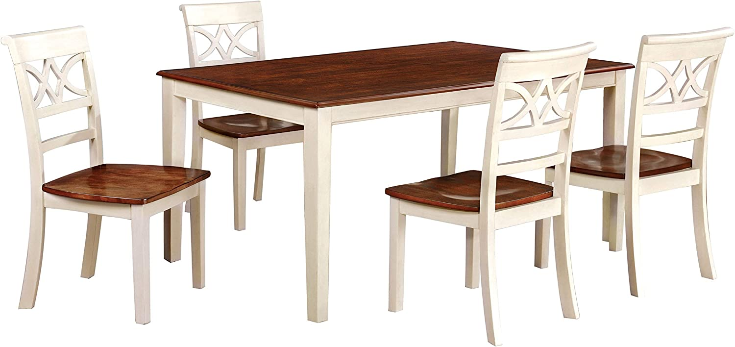 247SHOPATHOME dining-room-sets, 5-Piece, Antique White and Cherry