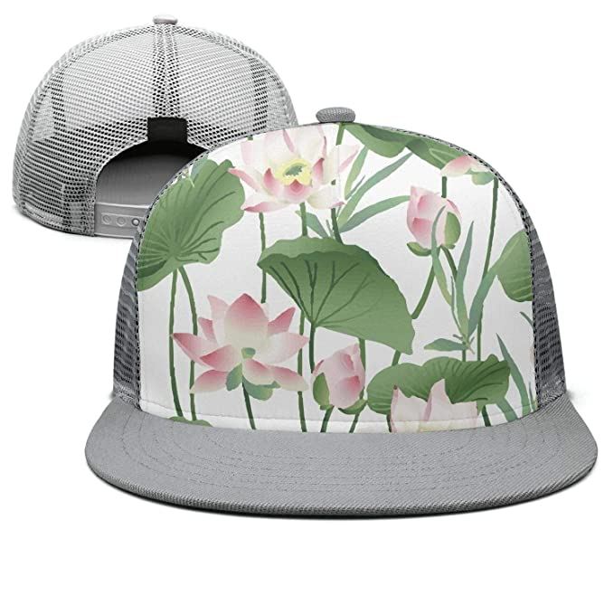 b61d0d2dfde Image Unavailable. Image not available for. Color  Keppel Teerd Unisex  Outdoor Pool Lotus flower-01 Adjustable Mesh Baseball Hats Rock Hip Hop