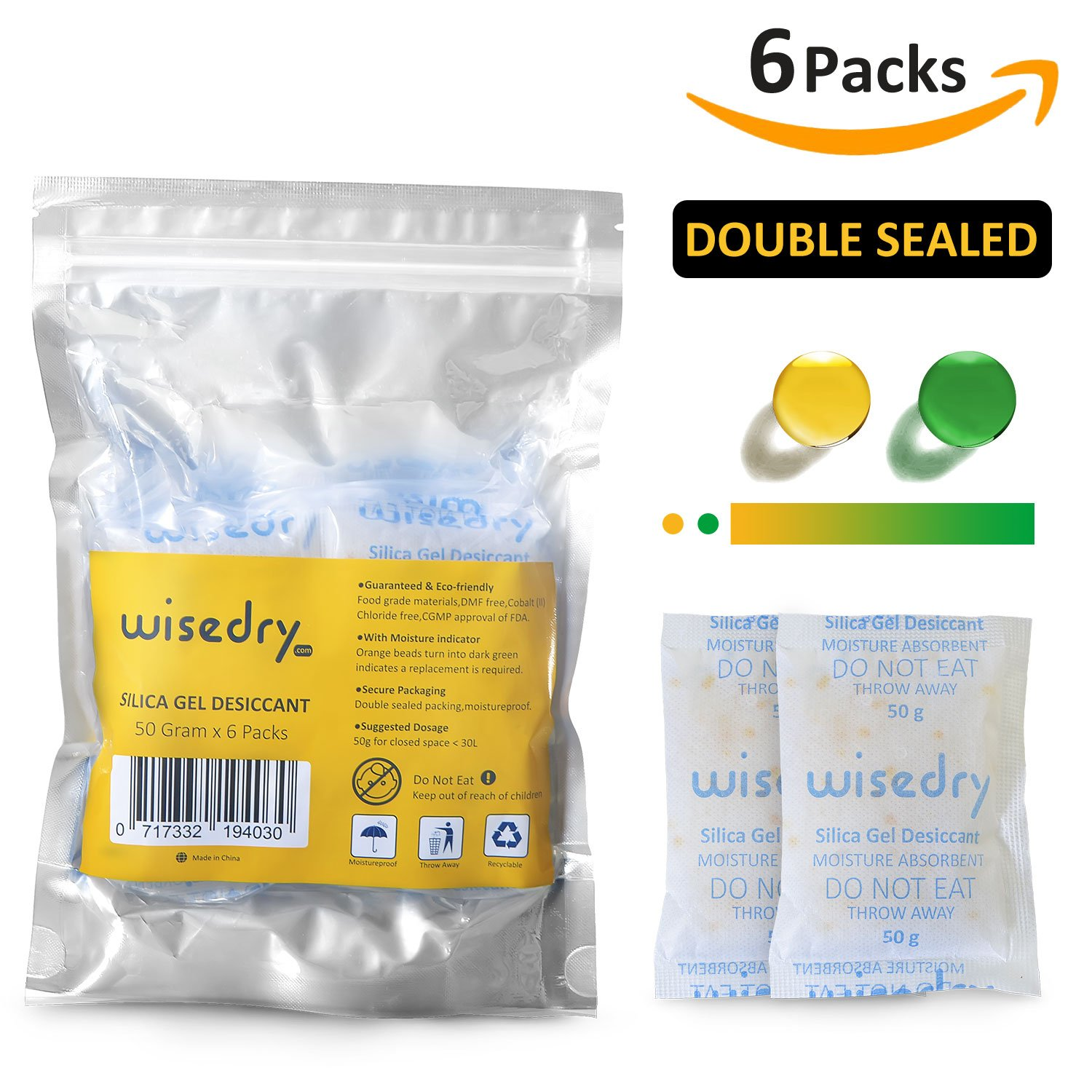 10 Gram x 30 Packs Silica Gel Sachets Bags with Orange Beads Humidity Indicator Moisture Absorber for Air Dryer Moisture Removal, Food Grade Viola Technology Limited