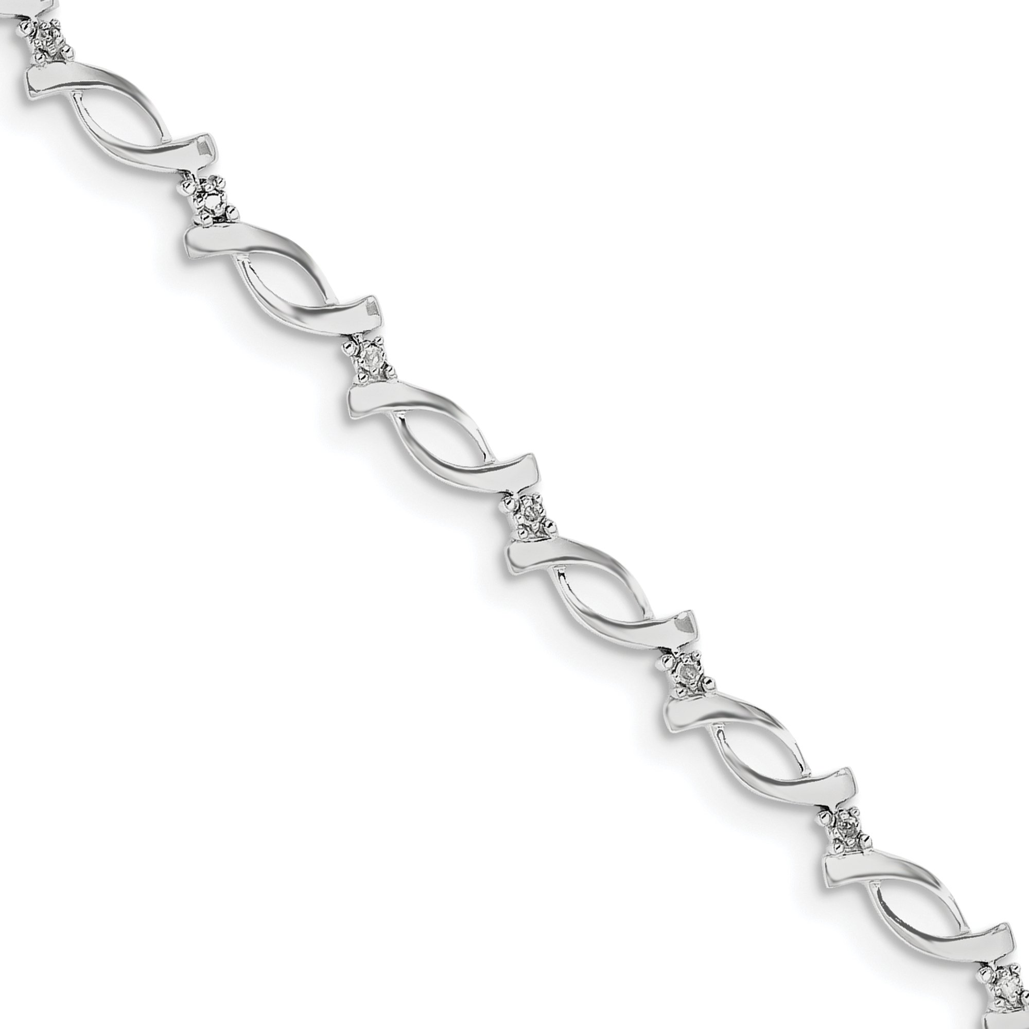 ICE CARATS 925 Sterling Silver Diamond Bracelet 7 Inch Fine Jewelry Gift Set For Women Heart