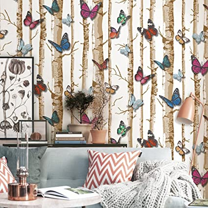 3d Modern Minimalist Tree Pattern with Butterfly Wallpaper Roll For ...
