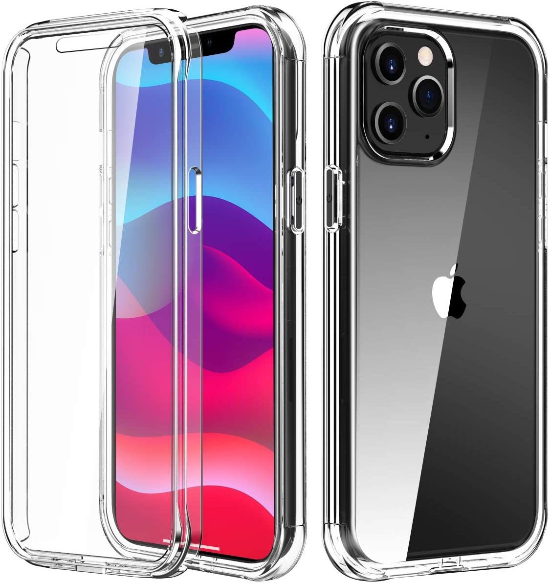 PIXIU Compatible with iPhone 12/12 pro Case Clear built with Screen Protector , Lightweight Full Body Shockproof Protective TPU Slim case cover for Apple iPhone 12 pro 6.1 inch 2020