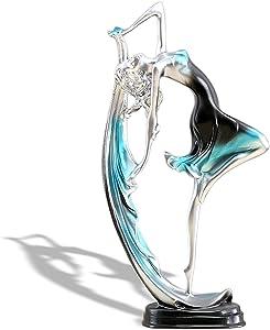 DIYOMR Elegant Ballet Girl Crafts Ornaments Home Decor Figurine, Dancing Girl Statue Decor Ornaments for Living Room/Bedroom/Wine Cabinet/Office Desk/TV Cabinet (Blue, 9.1