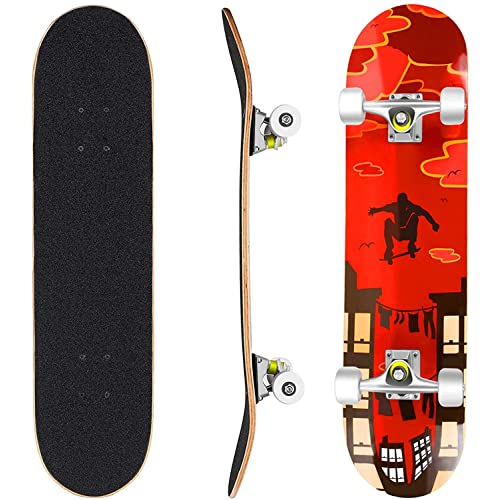 Pro 31 inches Complete Skateboards for Teens Beginners Girls Boys Kids Adults,US